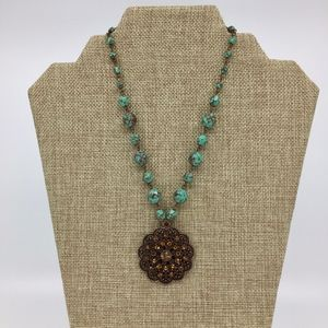 Jewelry - Copper Tone Beaded Necklace Crystal Pendant